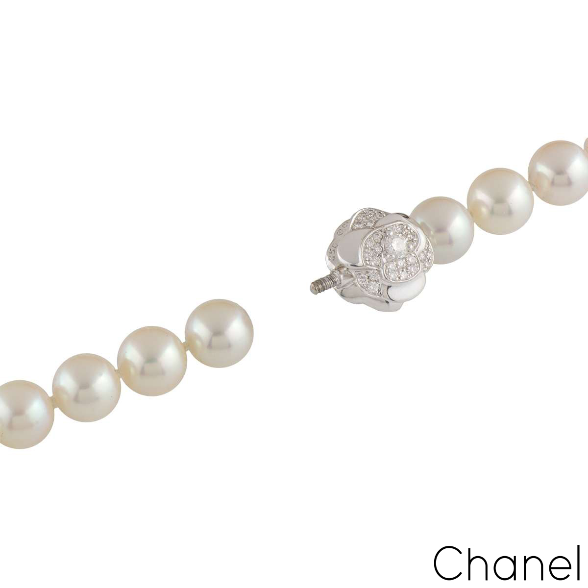 Chanel White Gold Diamond & Pearl Necklace